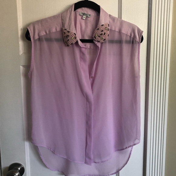 Tops - Embroidered Collar Button Up Purple Tank Top